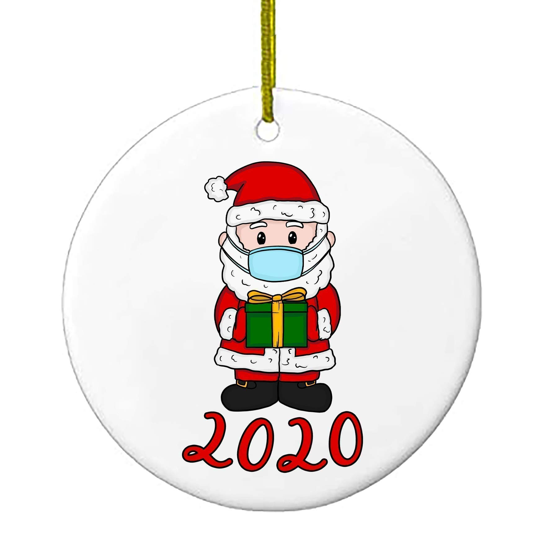 2020 Christmas Ornaments Cute Santa Clause Wearing Mask With Gift Personalized Gifts