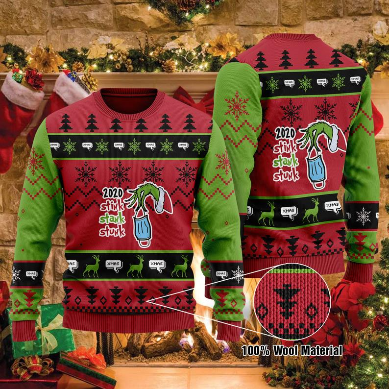 2020 Stink Stank Stunk The Grinch Christmas 100% Wool Ugly Sweater