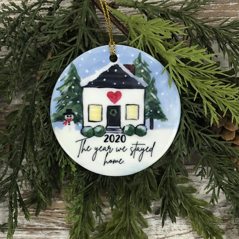 2020 We Stayed Home Christmas Ornament Pandemic Winter House Holiday Covid19 Personalized Gifts