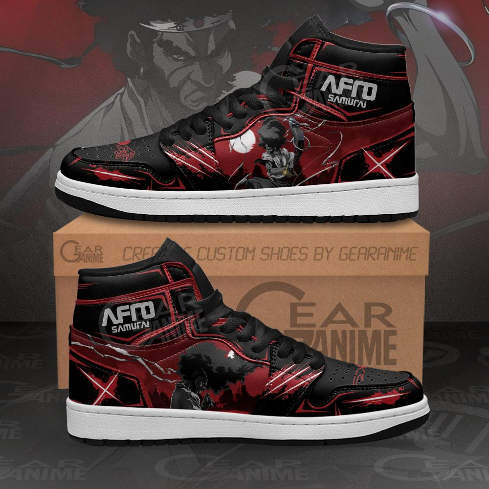 Afro Samurai Sneakers Black Red Custom Anime Air Jordan Shoes