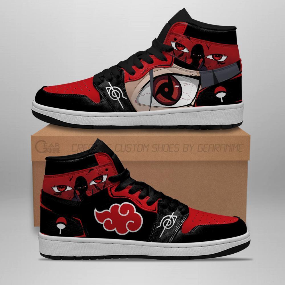 Akatsuki Itachi Sneakers Sharingan Eyes Naruto Anime Air Jordan Shoes
