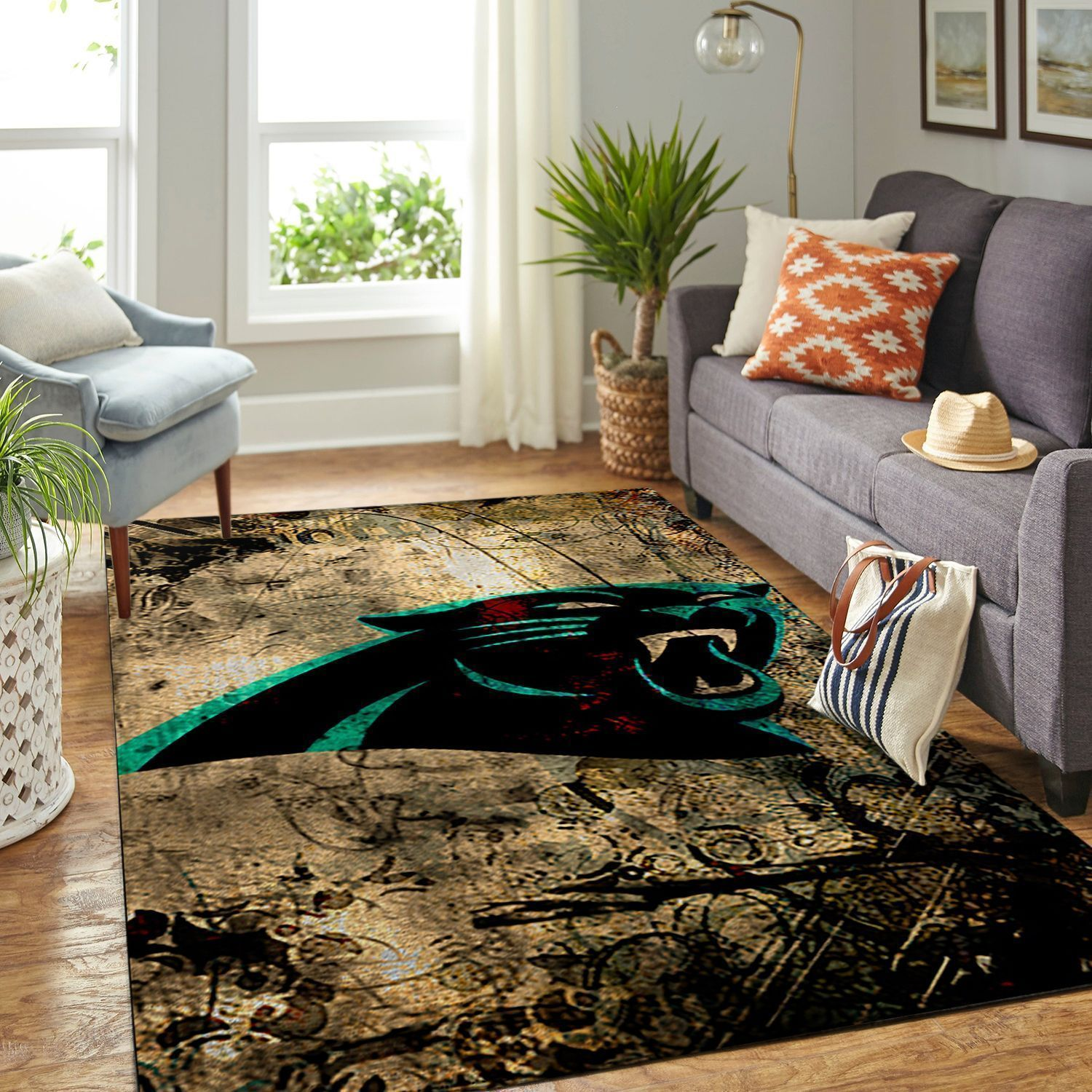 Amazon Carolina Panthers Living Room Area No2398 Rug
