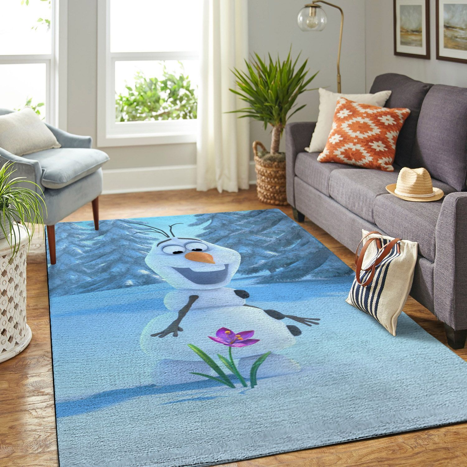 Amazon Frozen Olaf Snowman Living Room Area No6081 Rug