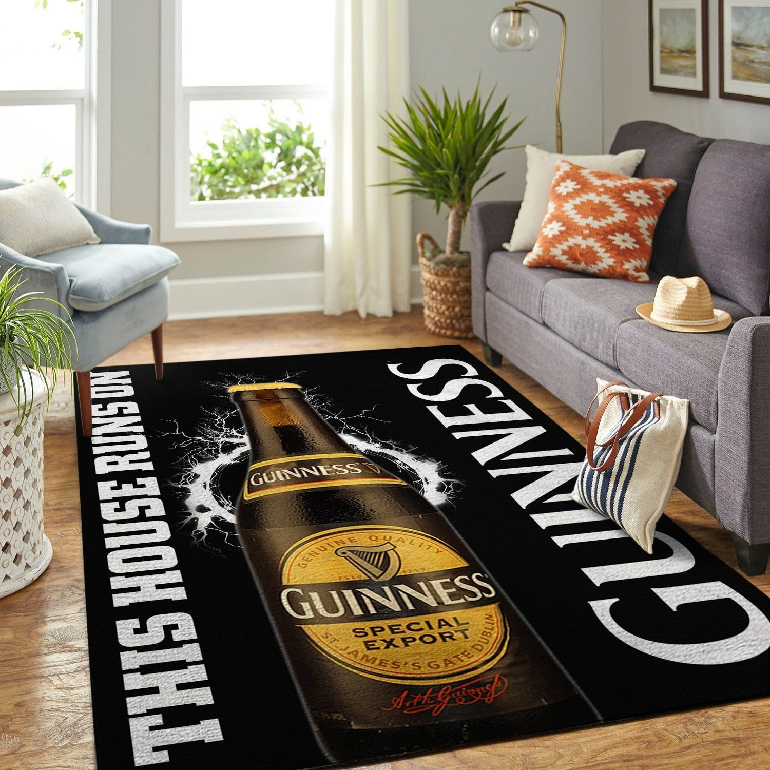 Amazon Guinness This House Runs On Nice Gift Home Decor Unique Living Room Area No3151 Rug