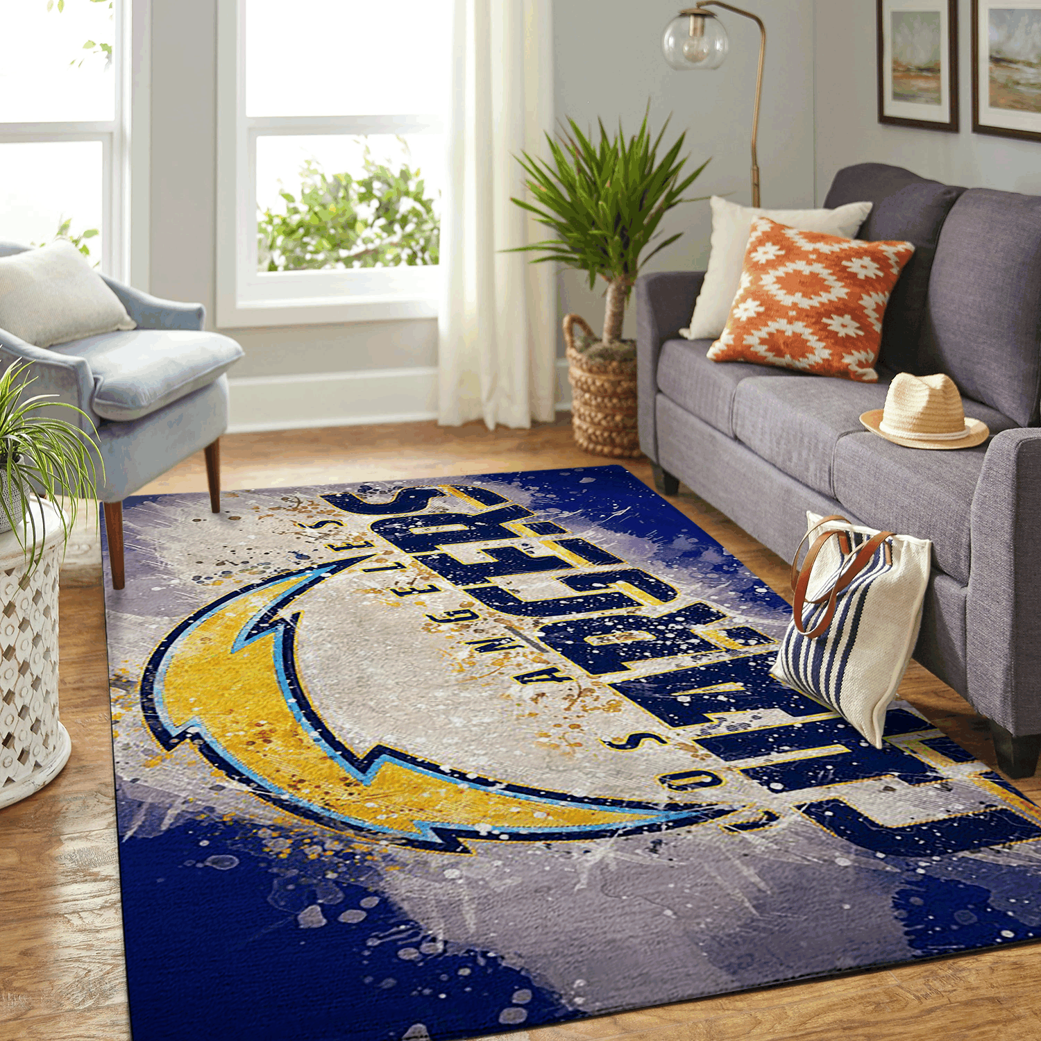 Amazon Los Angeles Chargers Living Room Area No3524 Rug