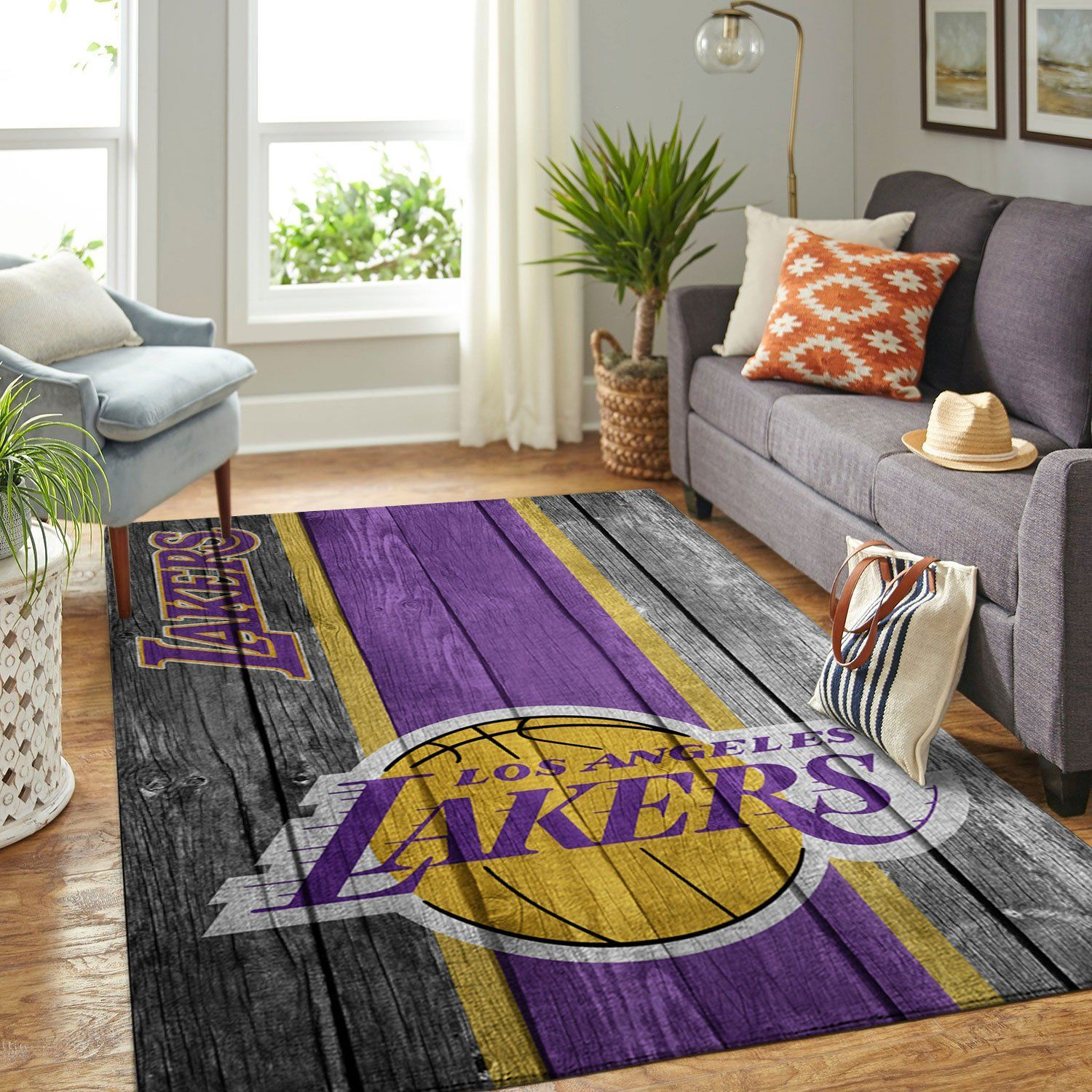Amazon Los Angeles Lakers Living Room Area No3626 Rug