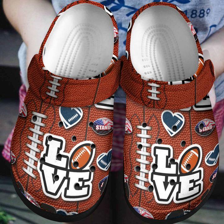 American Football Love Crocs Clog Shoes