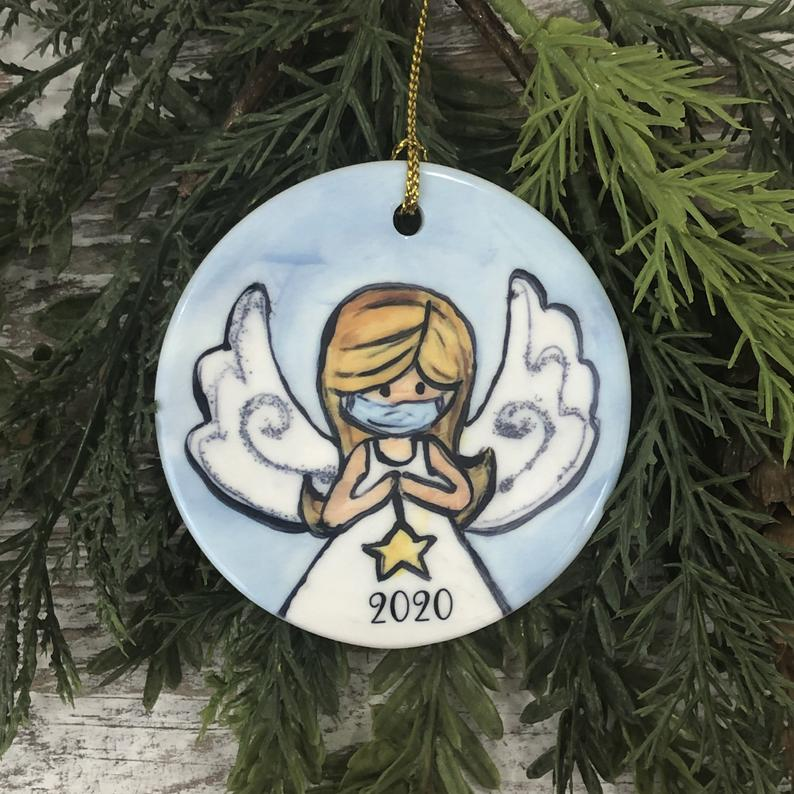 Angel With Mask Christmas Ornament Bereavement Loss Of Loved One Sympathy Personalized Gifts