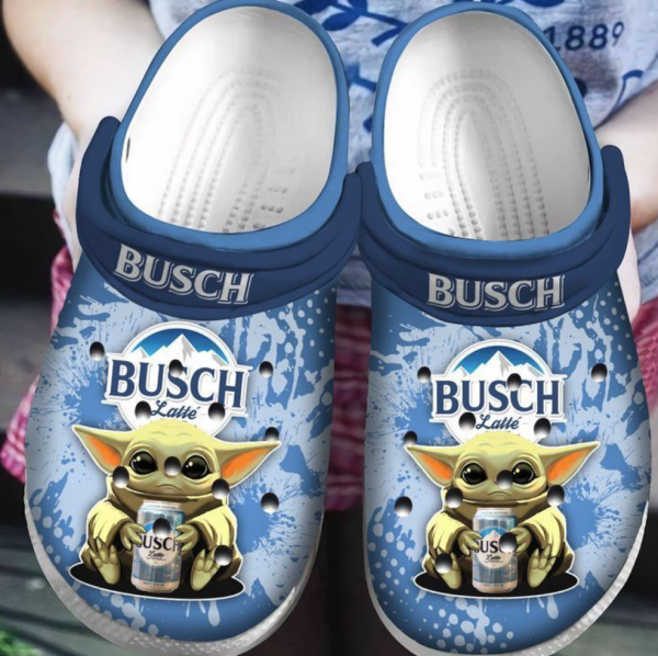 Baby Yoda Hug Busch Latte Crocs Clog Shoes