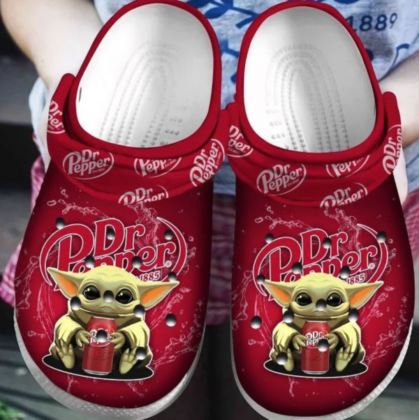 Baby Yoda Hug Dr Pepper Crocs Clog Shoes