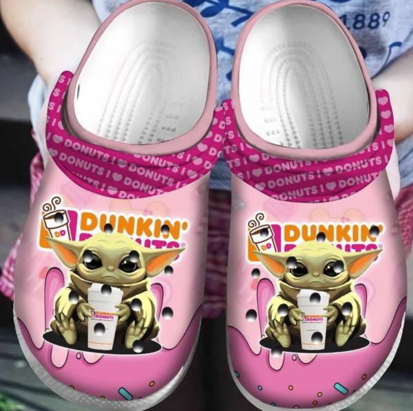 Baby Yoda Hug Dunkin� Donuts Crocs Clog Shoes