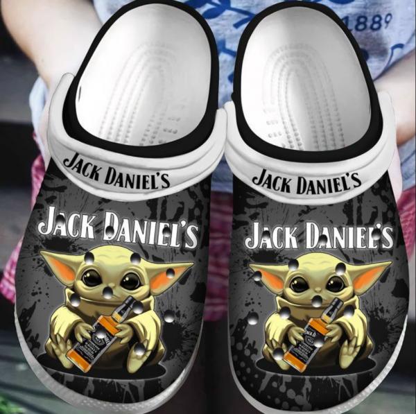 Baby Yoda Hug Jack Daniel�s Crocs Clog Shoes