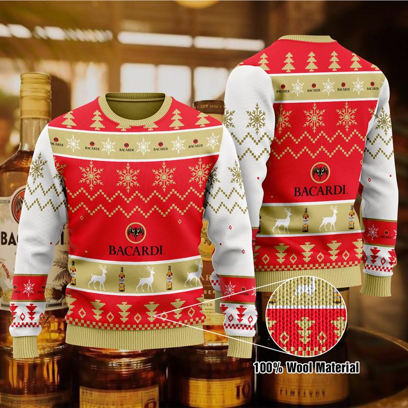 Bacardi White Rum Christmas 100% Wool Ugly Sweater