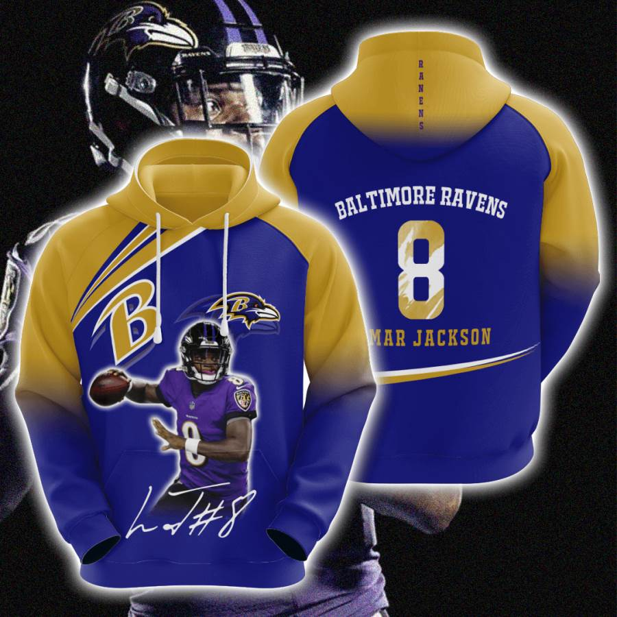 Baltimore Ravens No155 Custom Hoodie 3D