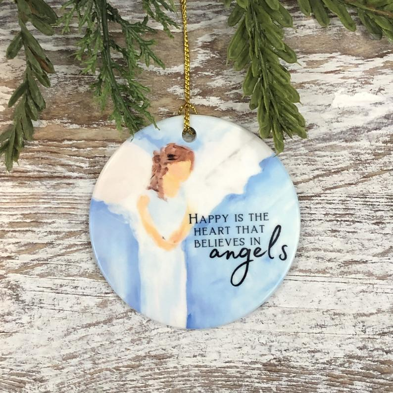 Believe In Angels Christmas Ornament Angel Bereavement Loss Of Loved One Tree Trimming Personalized Gifts