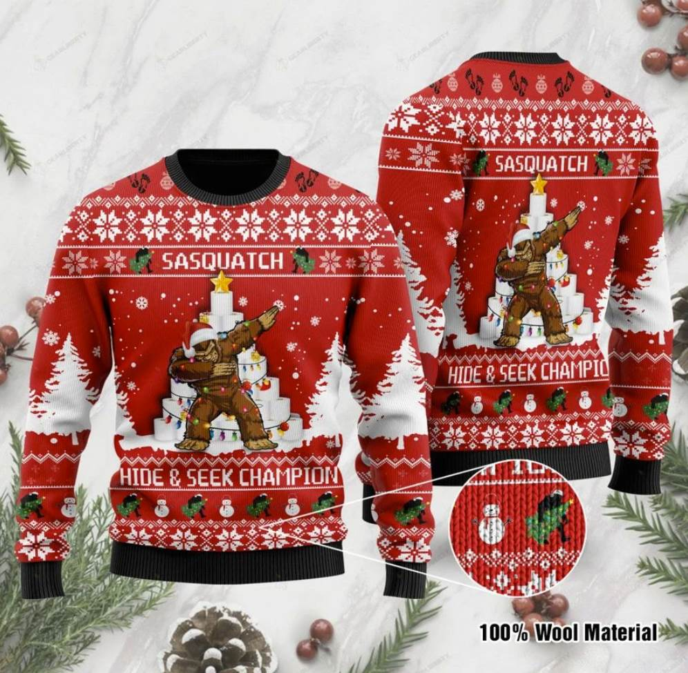 Bigfoot Hide And Seek Champion Ugly Sweater