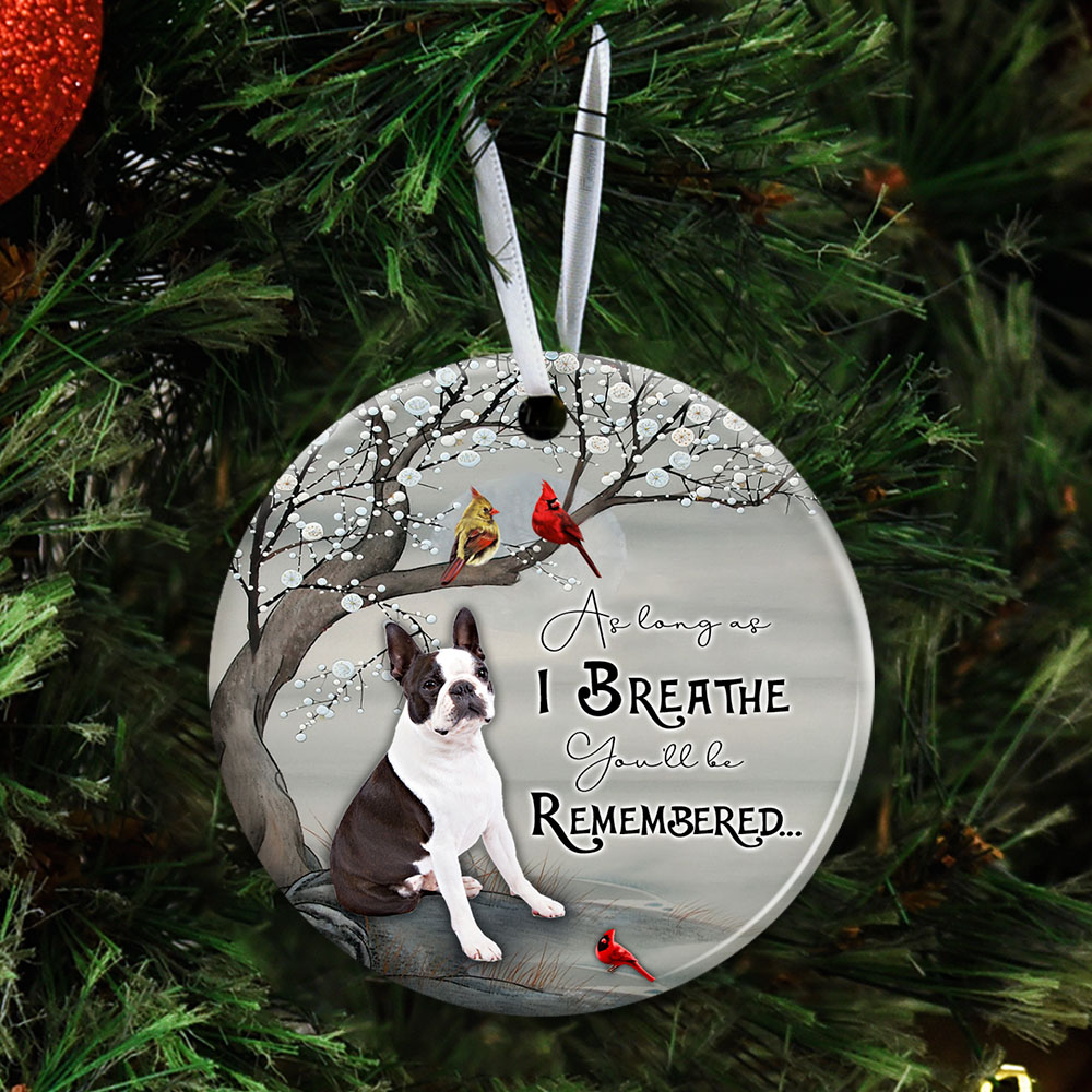 Boston As Long As I Breathe You�ll Be Remembered Ceramic Circle Ornament Personalized Gifts