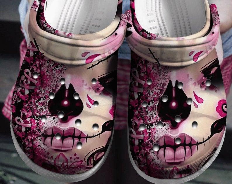 Breast Cancer Crocs Clog Shoes