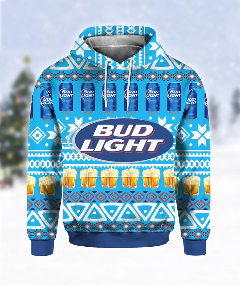 Bud Light Beer Print Ugly Hoodie 3D