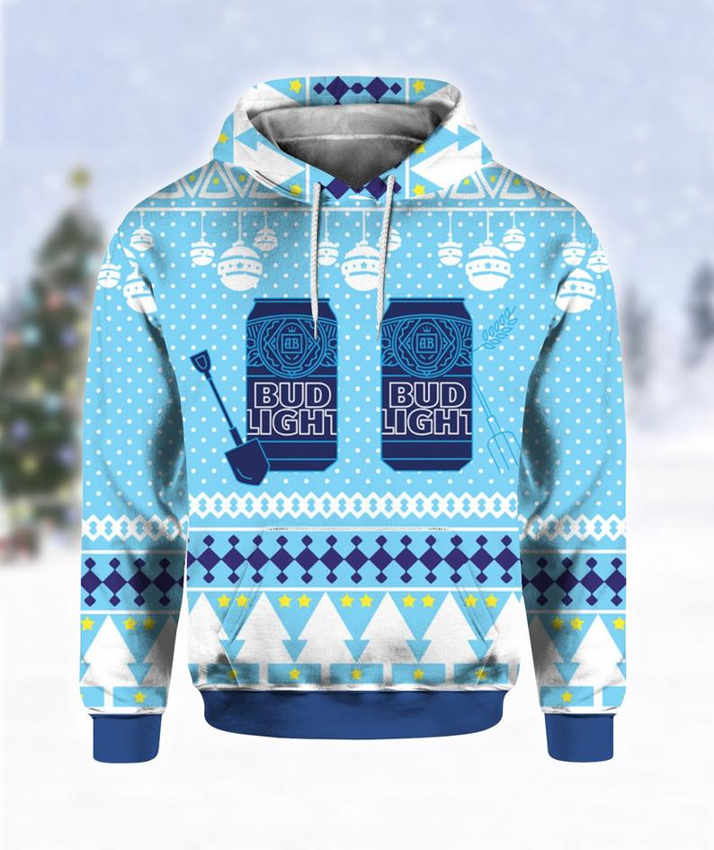 Bud Light Can Beer Christmas Ugly Sweater