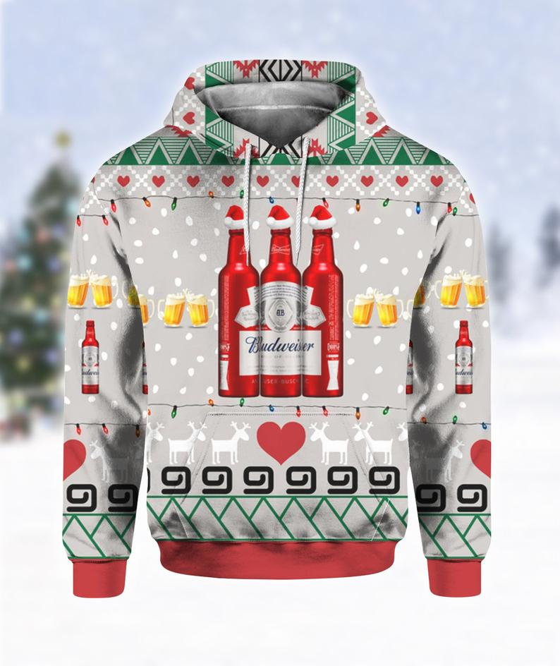 Budweiser Beer Red Bottles Christmas Ugly Sweater