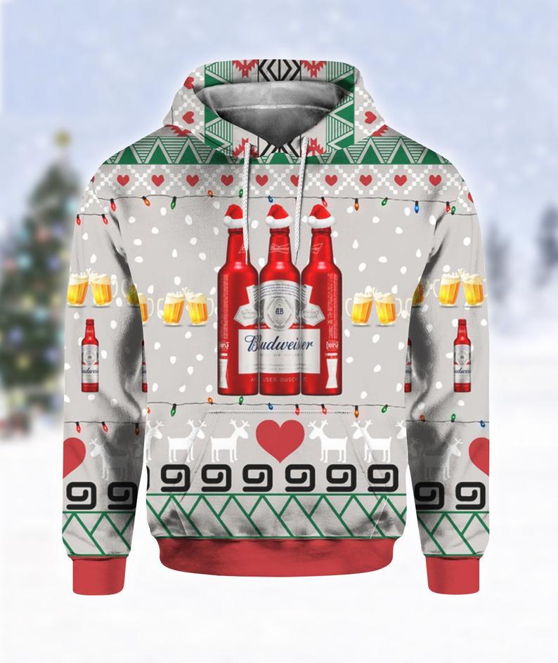 Budweiser Beer Red Bottles Print Ugly Christmas Hoodie 3D
