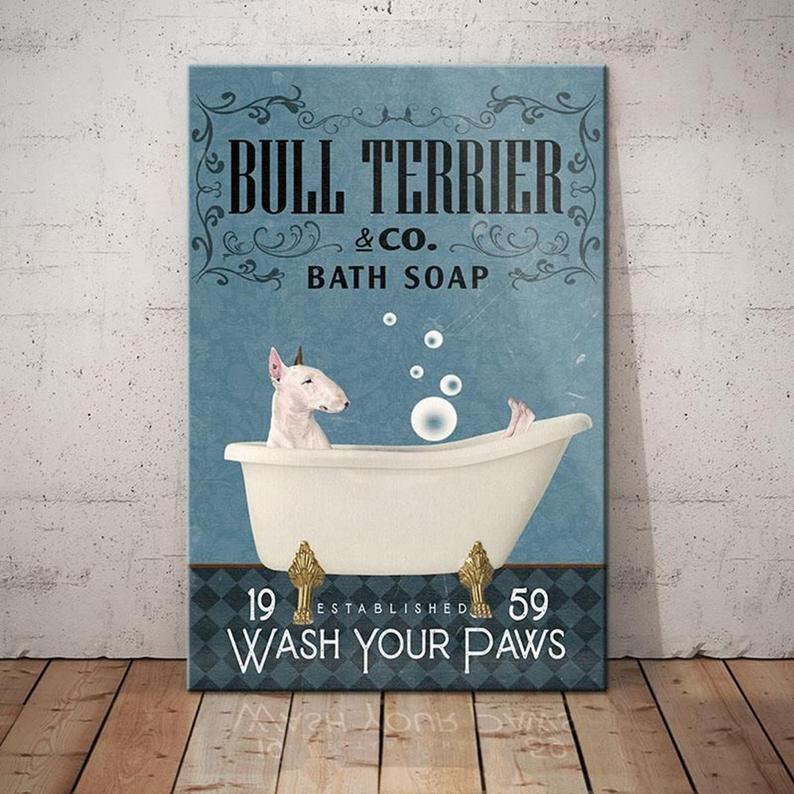 Bull Terrier Dog Bath Soap Poster