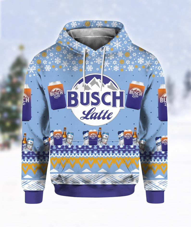 Busch Latte Beer Christmas Ugly Sweater