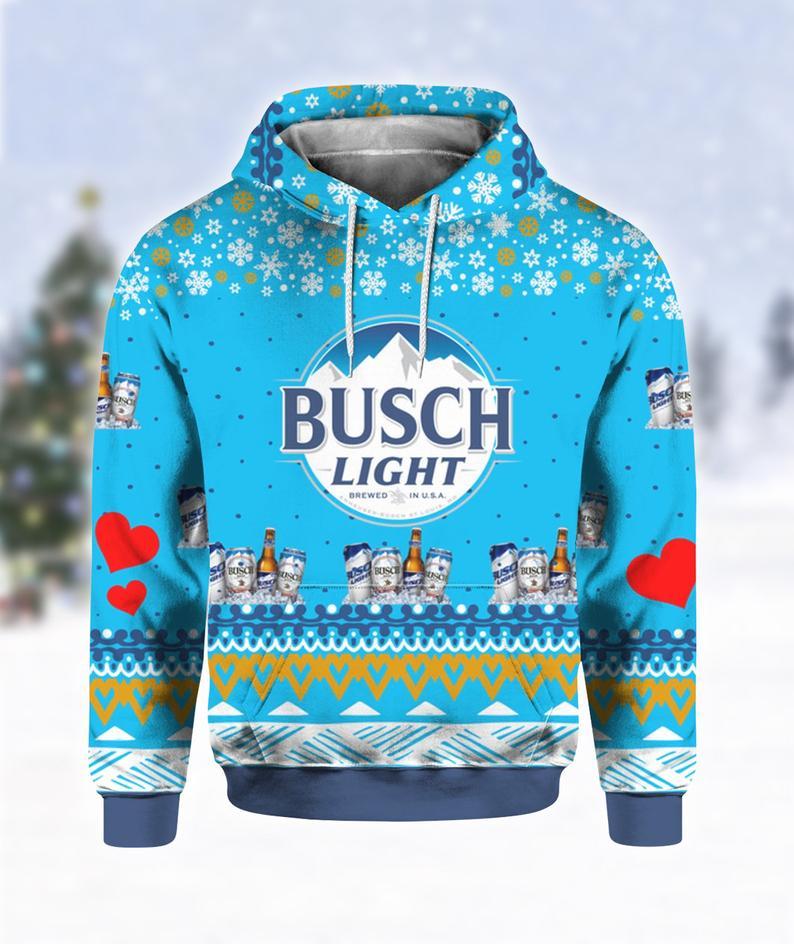 Busch Light Beer Print Ugly Christmas Hoodie 3D
