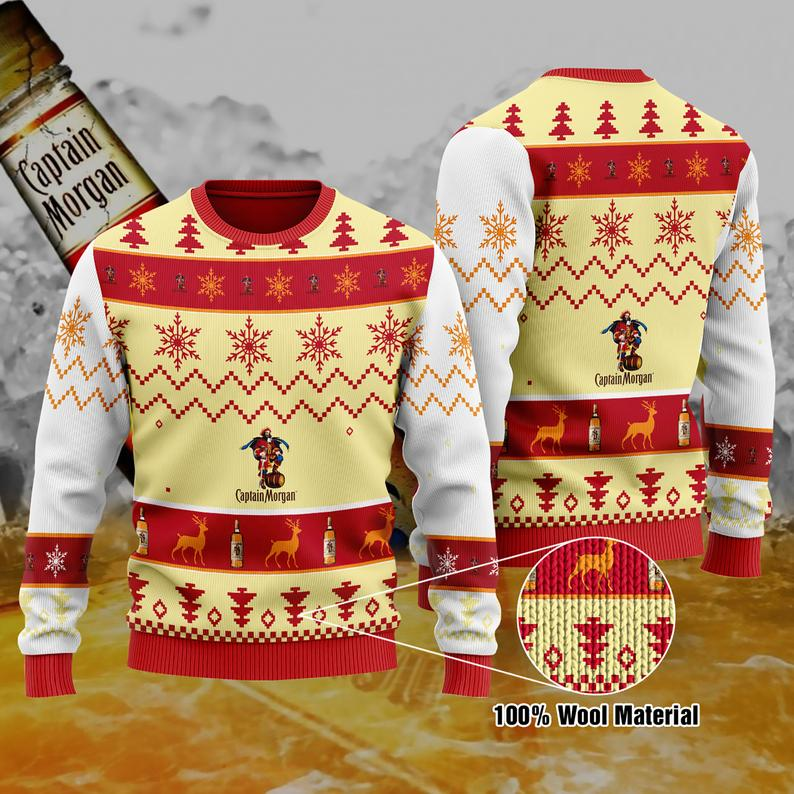 Captain Morgan Christmas 100% Wool Ugly Sweater