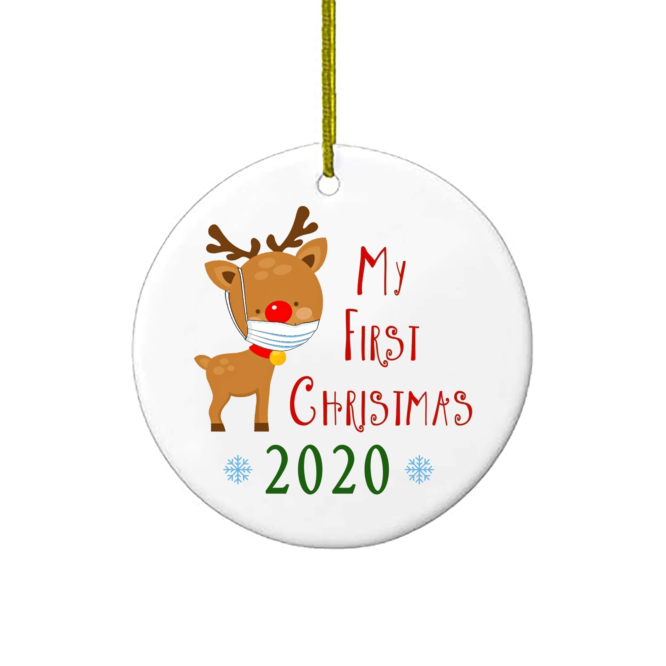 Christmas Ornaments My First Christmas Reindeer With Mask 2020 Baby 1st Xmas Ornament Personalized Gifts