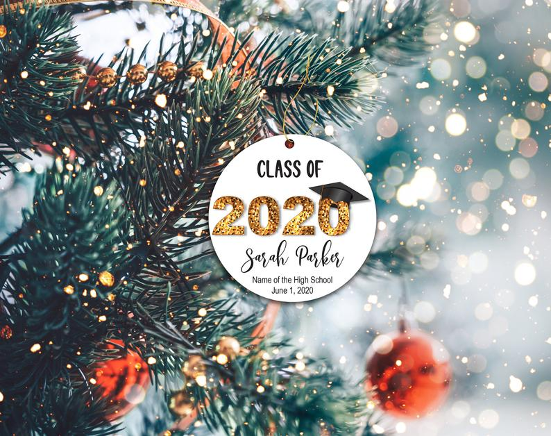 Class Of 2020 Ornament Graduation Christmas Decor Holiday Covid Mask Personalized Gifts