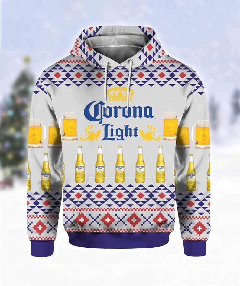 Corona Light Beer Print Ugly Christmas Hoodie 3D