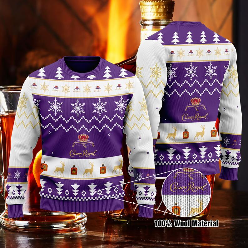 Crown Royal Whisky Christmas 100% Wool Ugly Sweater