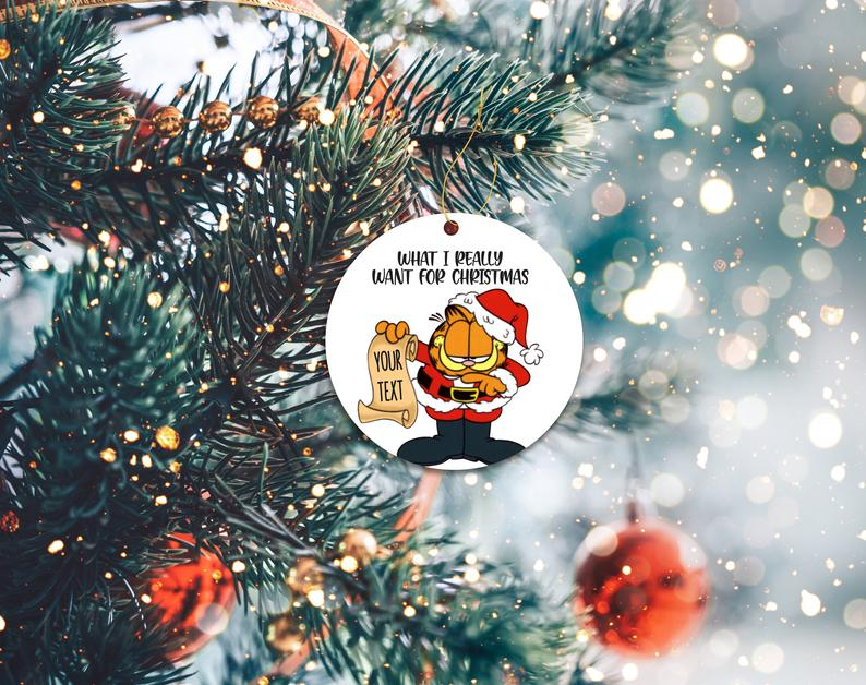 Custom Garfield Ornament Personalized Holiday Christmas Decor Ornaments Personalized Gifts
