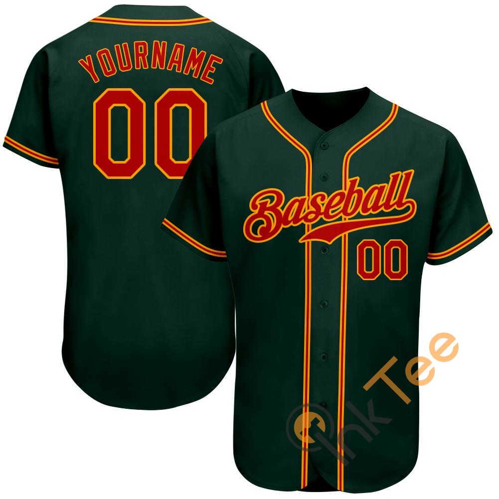 Custom Green Red Gold Baseball Jersey