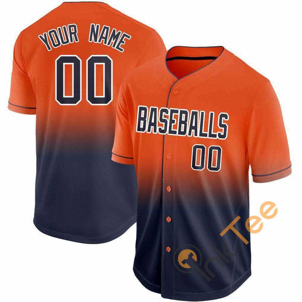 Custom Orange Navy White Fade Baseball Jersey