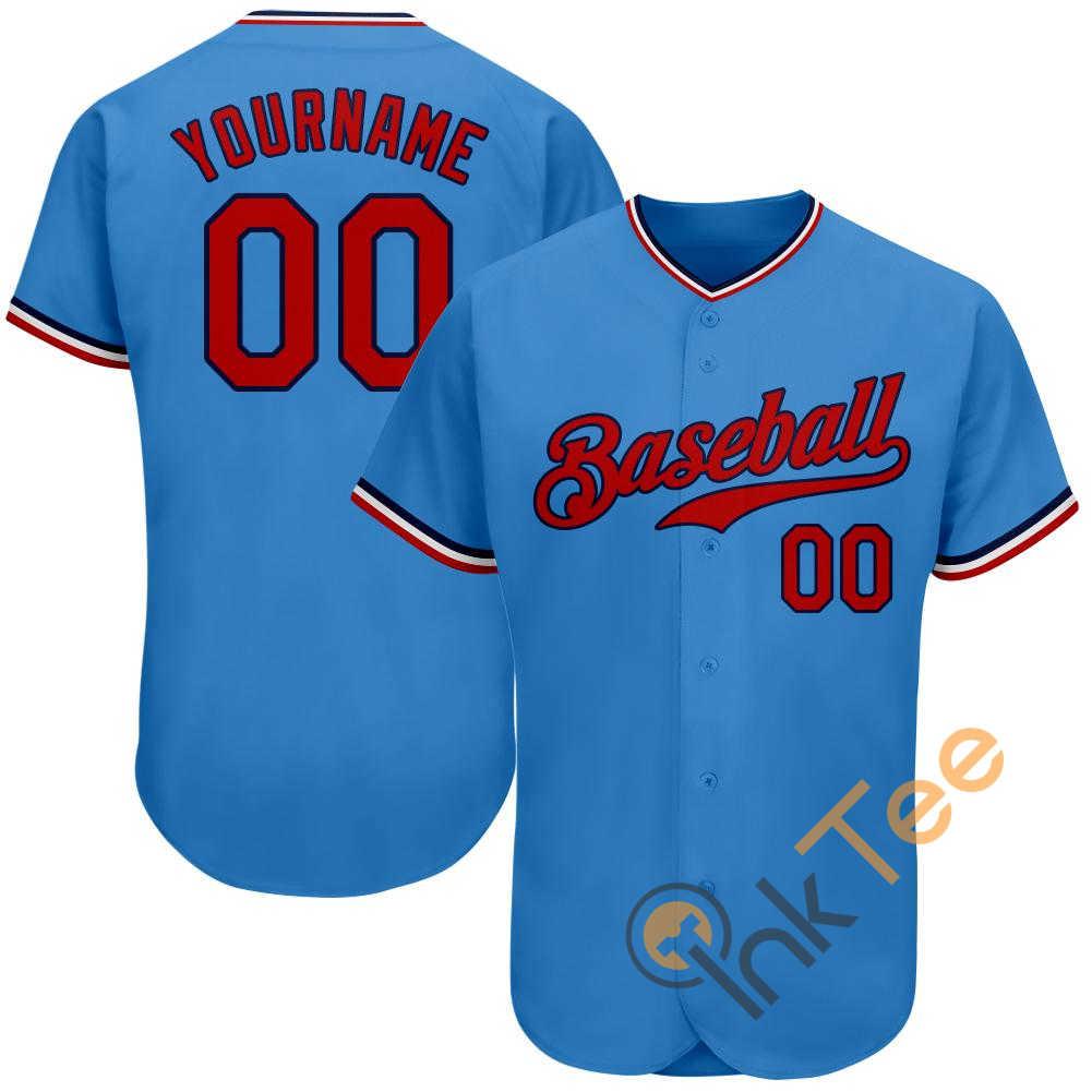Custom Powder Blue Red Navy Baseball Jersey