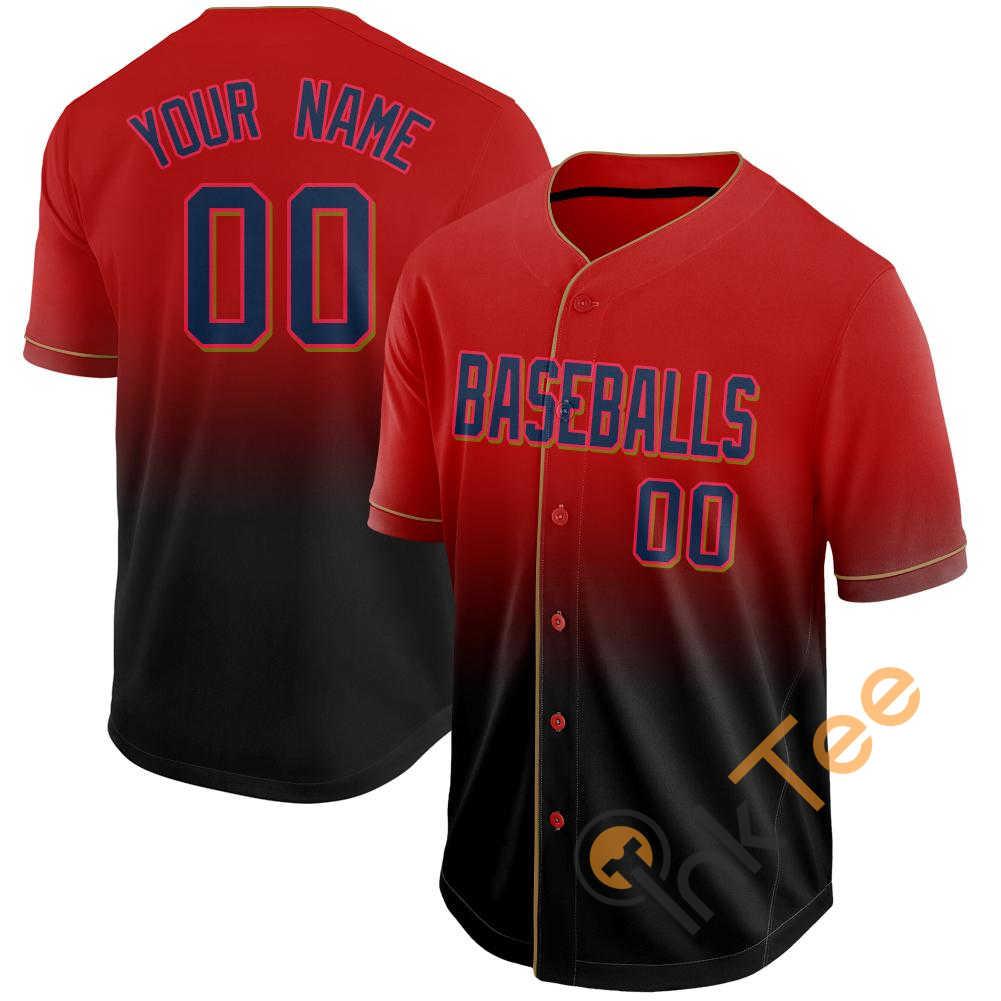 Custom Red Navy Black Fade Baseball Jersey