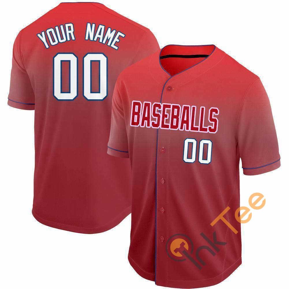 Custom Red White Navy Fade Baseball Jersey