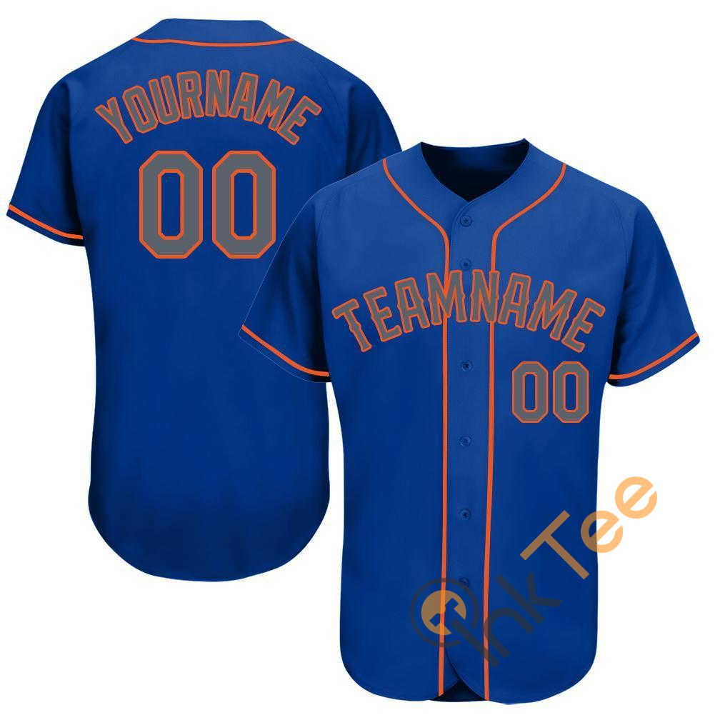 Custom Royal Gray Orange Baseball Jersey