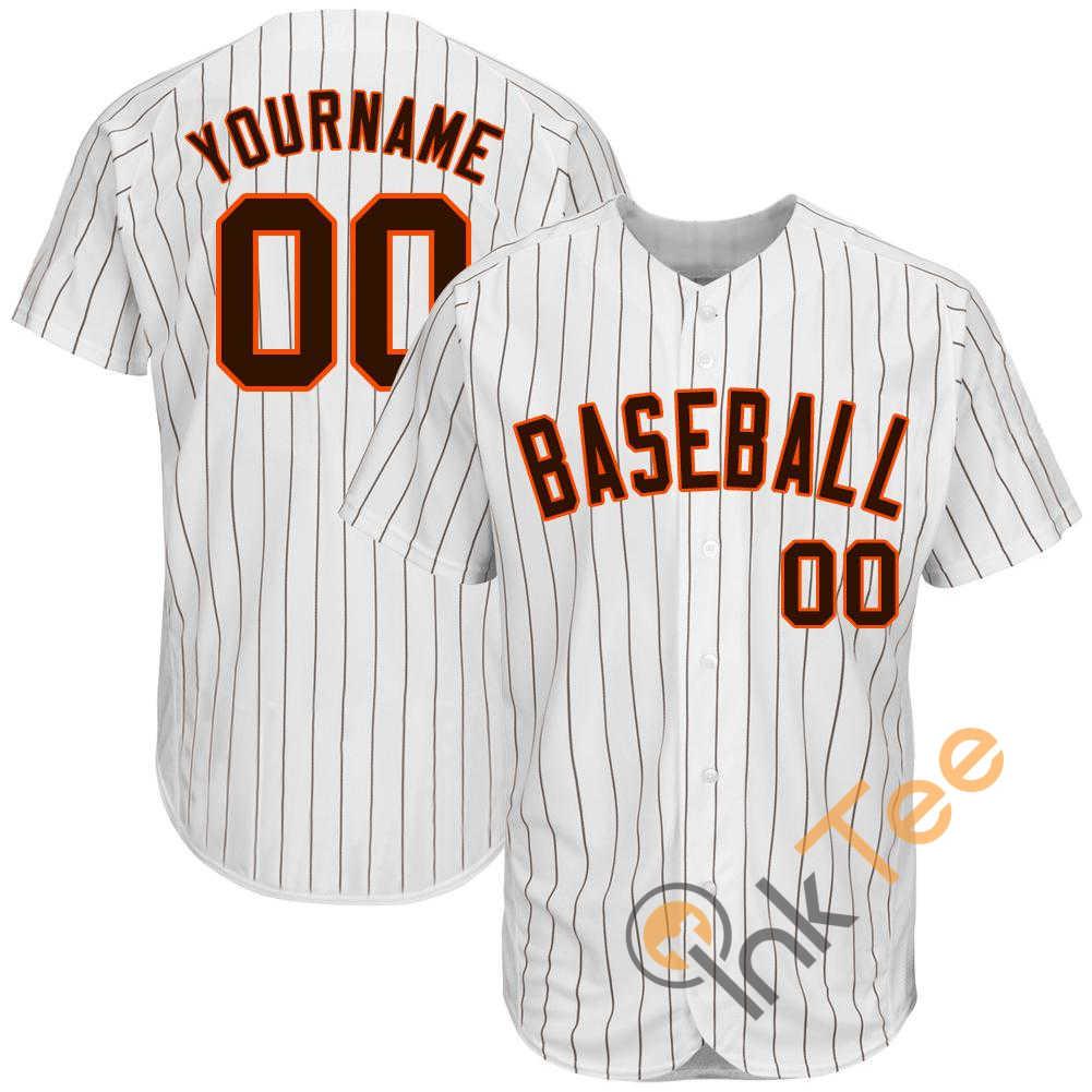 Custom White Brown Strip Brown Orange Baseball Jersey