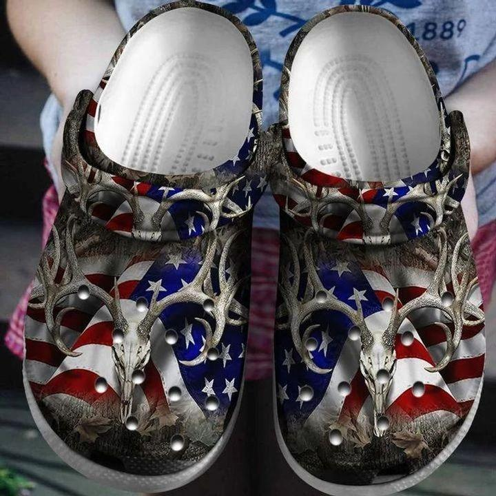 Deer Hunter America Flag Crocs Clog Shoes