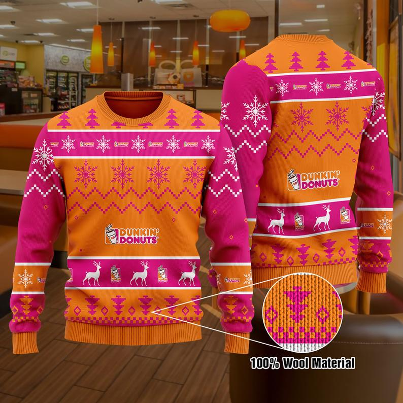 Dunkin' Donut ' Christmas 100% Wool Ugly Sweater