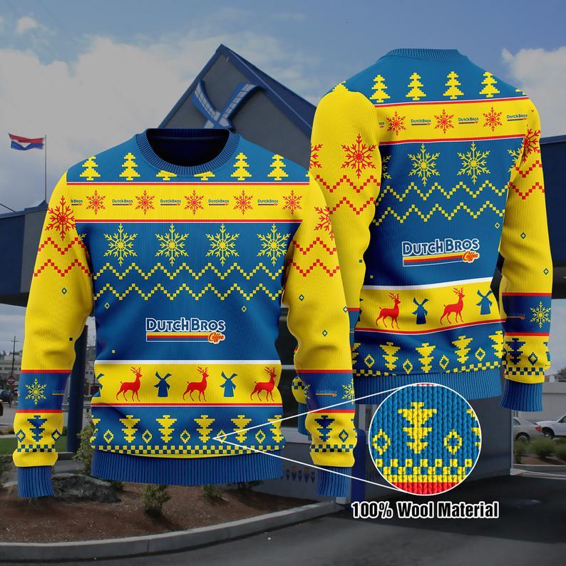 Dutch Bros Coffee Christmas 100% Wool Ugly Sweater