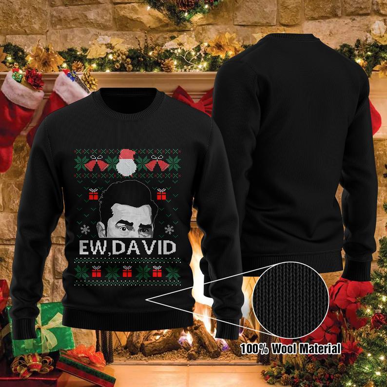 Ew David Holliday Christmas 100% Wool Ugly Sweater