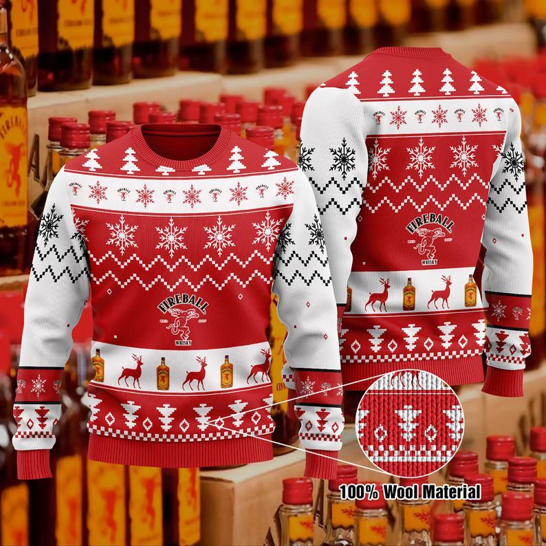 Fireball Cinnamon Whisky Christmas 100% Wool Ugly Sweater