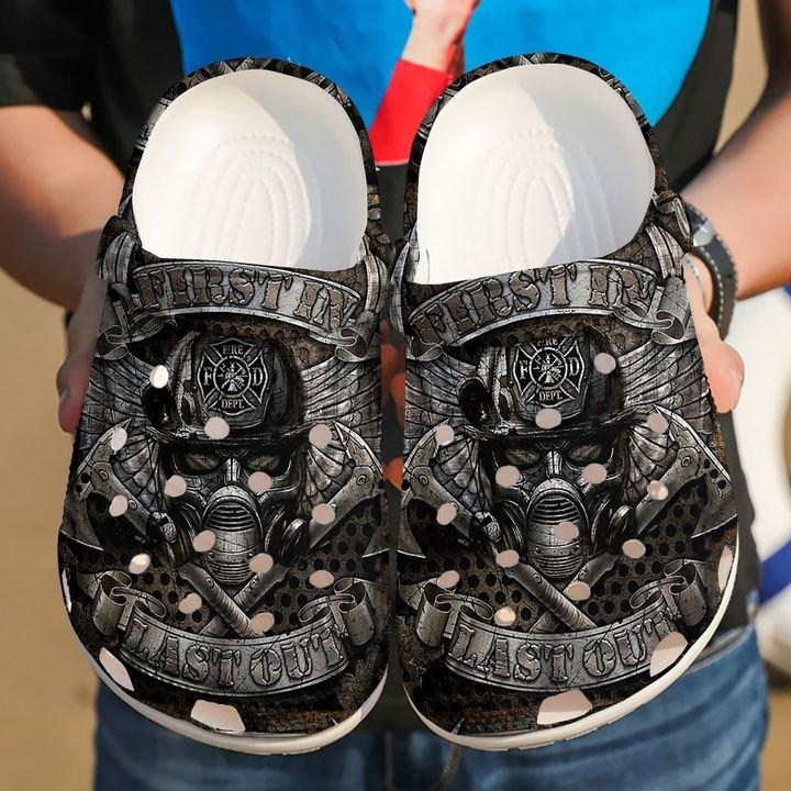 Firefighter Silver Pattern Sku 995 Crocs Clog Shoes