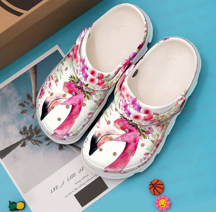Flamingo Floral Crown Sku 1060 Crocs Clog Shoes