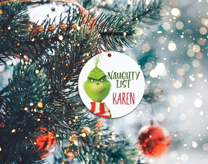Grinch Naughty List Ornament Funny Covid Mask Custom Christmas Decor Holiday Ornaments Personalized Gifts